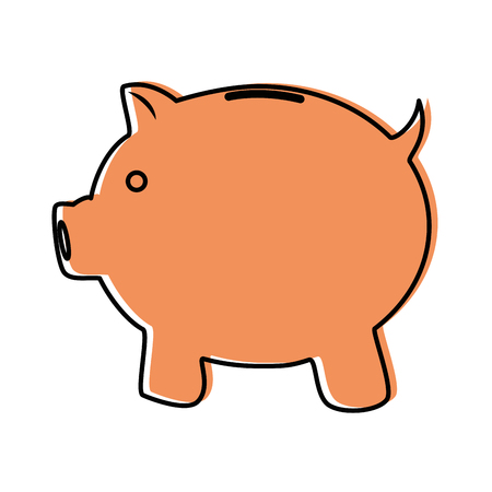 piggy bank icon over white background vector illustration