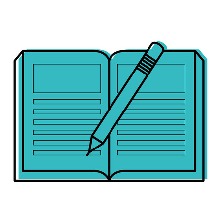academic book and pencil icon over white background vector illustration