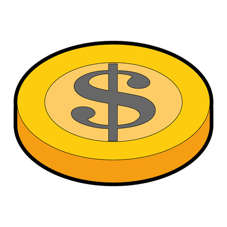 money coin icon over white background vector illustration