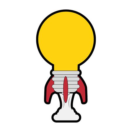 흰색 배경 벡터 일러스트 레이 션 위에 전구 모양 아이콘으로 로켓