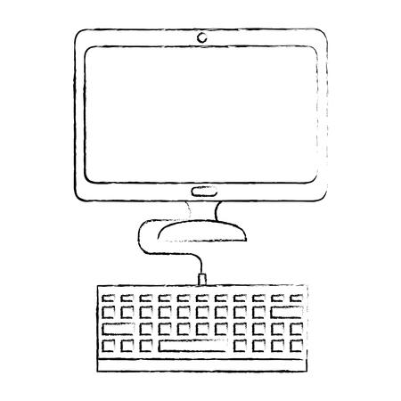 컴퓨터 책상 기술 아이콘 벡터 일러스트 그래픽 디자인 스톡 콘텐츠 - 84553011
