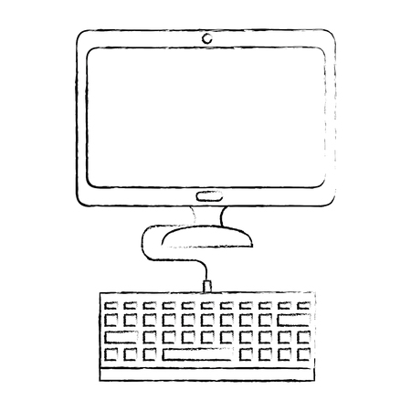 Computer desk technology icon vector illustration graphic design