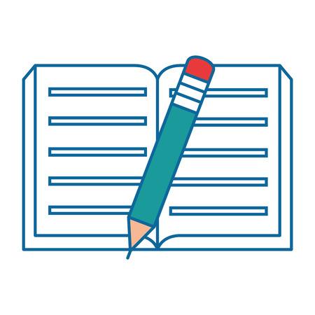 학술 책 및 연필 아이콘 위에 흰색 배경 벡터 일러스트 레이 션 일러스트
