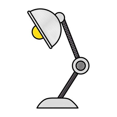 白い背景のベクトル図をデスク ランプ アイコン