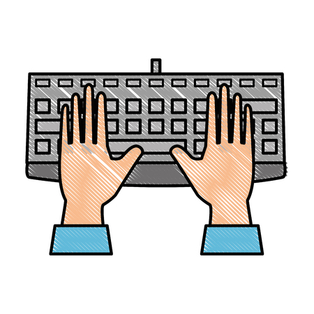 hands and keyboard device icon over white background vector illustration