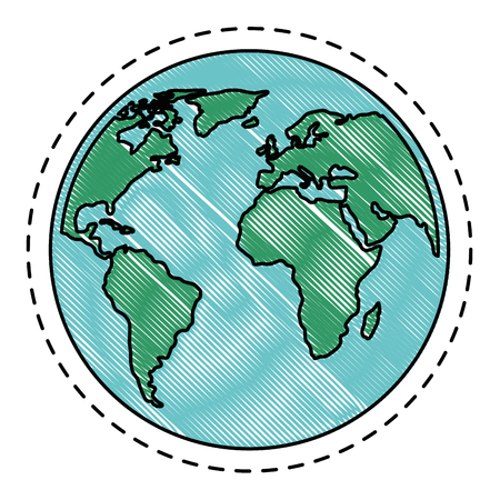 earth planet icon over white background vector illustration Çizim