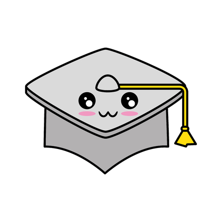 graduation cap icon over white background vector illustration Stock fotó - 84552637