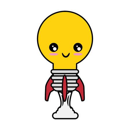 rocket with light bulb shape icon over white background vector illustration Illusztráció