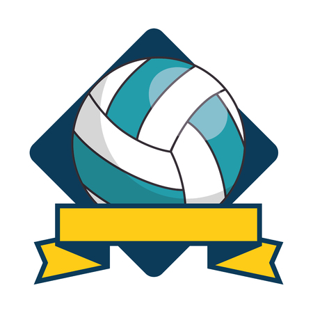 emblem with volleyball ball icon over white background colorful design vector illustration