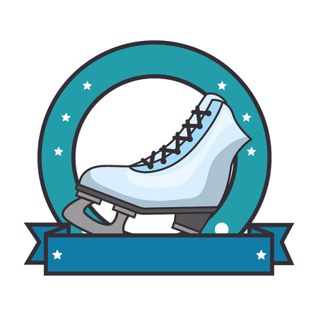 emblem with ice skates icon over white background colorful design vector illustration