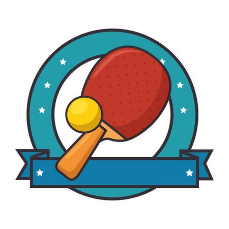 Emblema con icona della racchetta da tennis da tennis su sfondo bianco illustrazione vettoriale design colorato Archivio Fotografico - 84552668