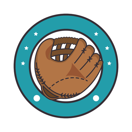 emblem with baseball glove icon over white background colorful design vector illustration
