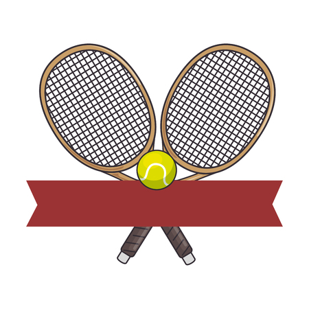 emblem with tennis rackets and ball  icon over white background colorful design vector illustration
