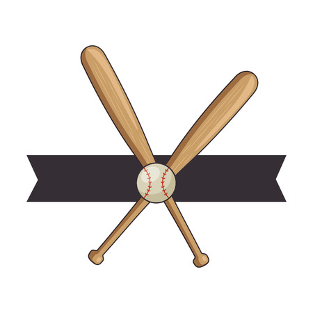 emblem with baseball bats and ball icon over white background colorful design vector illustration