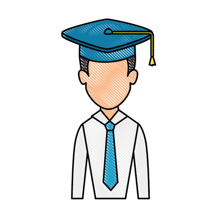 白い背景のベクトル図を卒業キャップ アイコンを持つ男  イラスト・ベクター素材