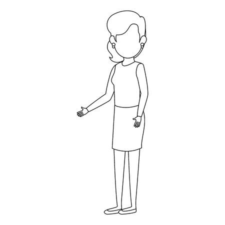 zakenvrouw staande pictogram op witte achtergrond vector illustratie Stock Illustratie