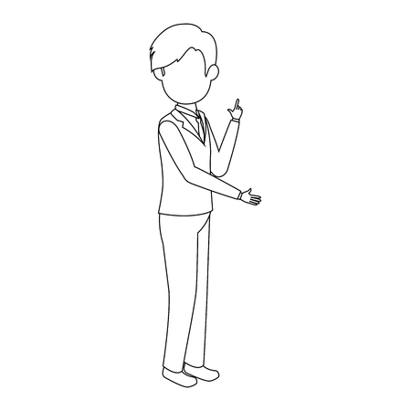 businessman standing icon over white background vector illustration Ilustração