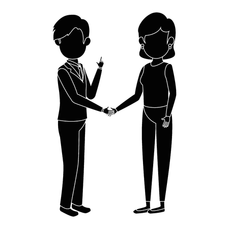 businesspeople standing icon over white background vector illustration Ilustração