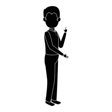 businessman standing icon over white background vector illustration Иллюстрация