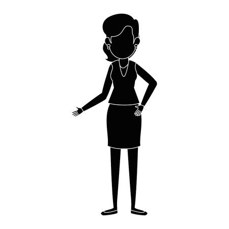 businesswoman standing icon over white background vector illustration Ilustração