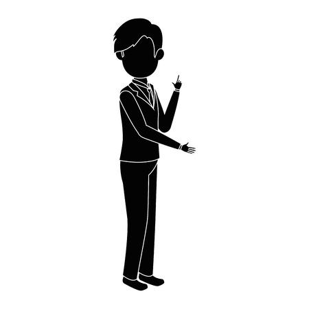 白背景ベクトル イラスト上のビジネスマン立っているアイコン  イラスト・ベクター素材