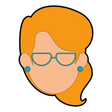 woman with glasses icon over white background vector illustration