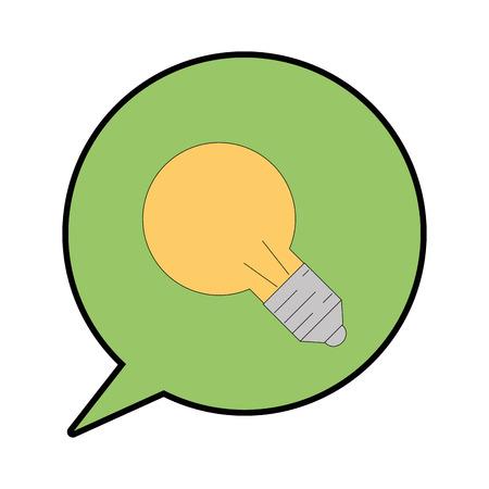 tekstballon met lampje pictogram over witte achtergrond vectorillustratie