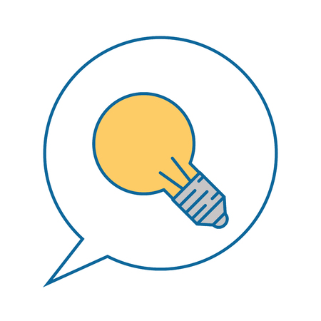 speech bubble with bulb icon over white background vector illustration