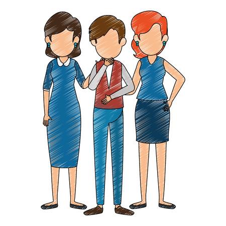 businesspeople standing icon over white background colorful design vector illustration
