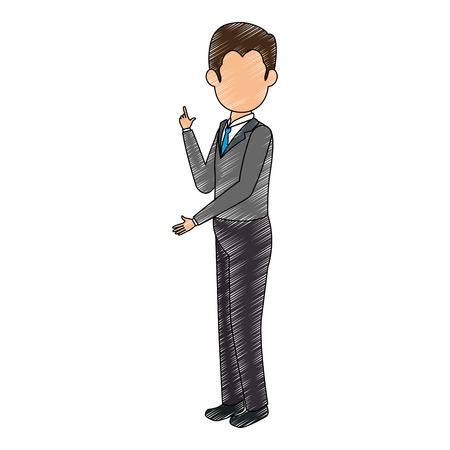 businessman standing icon over white background colorful design vector illustration