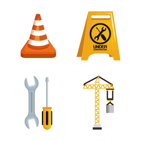 under construction equipment tools hardwork vector illustration Illustration
