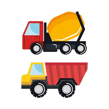 set construction vehicle transport work machine vector illustration