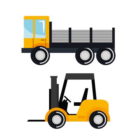 Set Baufahrzeug Transport Arbeit Maschine Vektor-Illustration Standard-Bild - 84553821