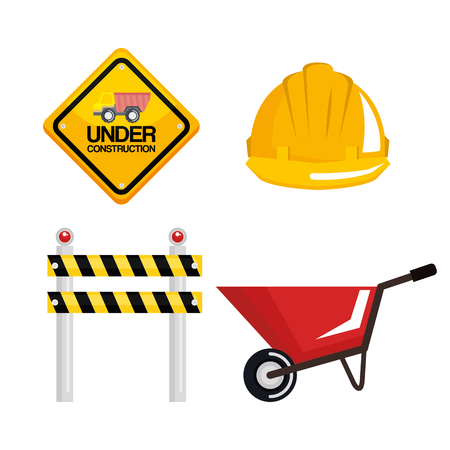 under construction equipment tools hardwork vector illustration Illustration
