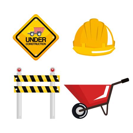 Unter Bau Ausrüstung Werkzeuge Hardwork Vektor-Illustration Standard-Bild - 84553823