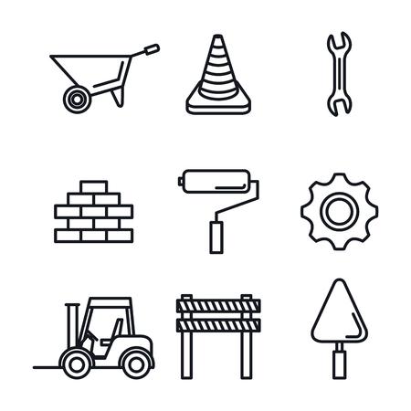 illustrazione vettoriale di strumenti in costruzione attrezzature hardwork