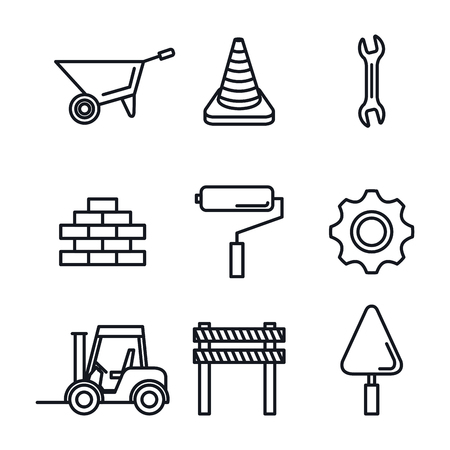 under construction equipment tools hardwork vector illustration Illusztráció
