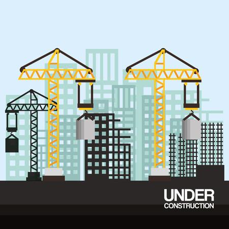 クレーンと高層ビル建設のベクトル図の下のサイト  イラスト・ベクター素材