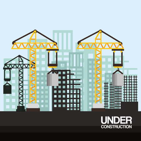 site with cranes and skyscraper under construction vector illustration Ilustração