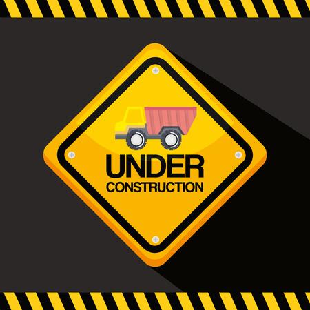 under construction road sign with truck vehicle Ilustração