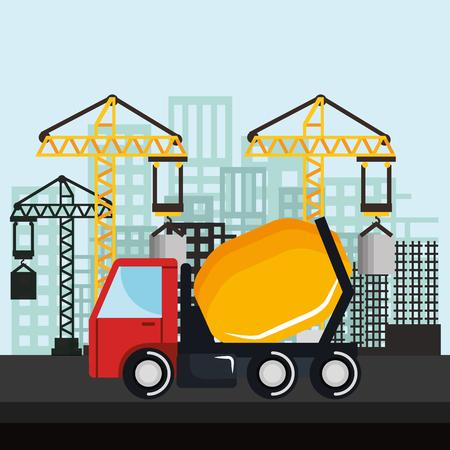 under construction mixer truck vehicle crane city vector illustration Illustration