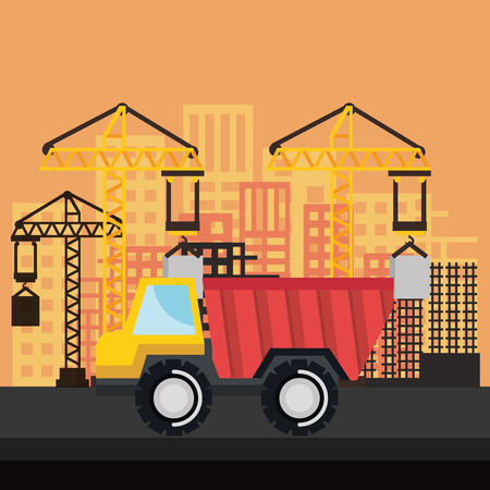 under construction truck tipper vehicle crane city vector illustration Illustration
