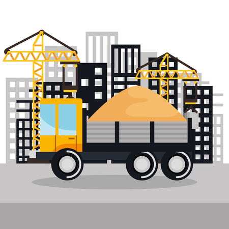 under construction vehicle truck sand building background vector illustration Ilustração