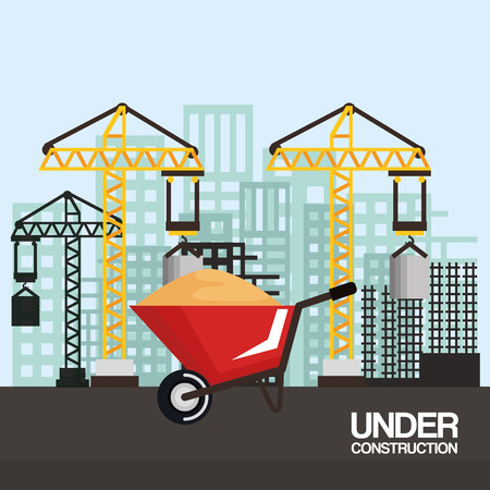 under construction wheelbarrow equipment tool city background vector illustration