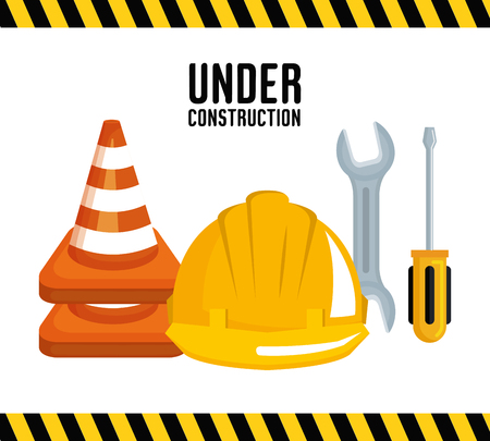 under construction equipment tools hardwork vector illustration Ilustração