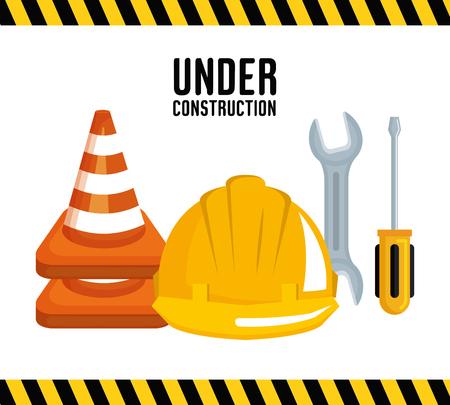 Unter Bau Ausrüstung Werkzeuge Hardwork Vektor-Illustration Standard-Bild - 84553835