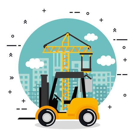 under construction forklift truck vehicle city background vector illustration Ilustração