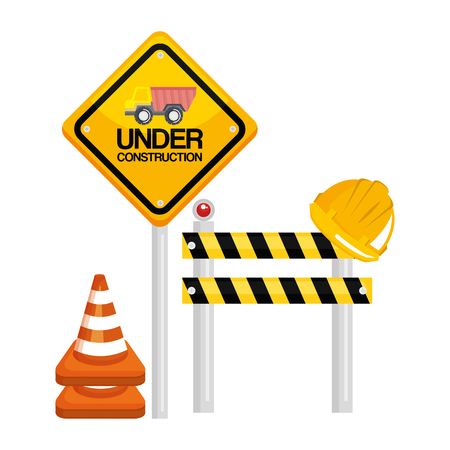 under construction barrier road sign cone warning vector illustration Illustration