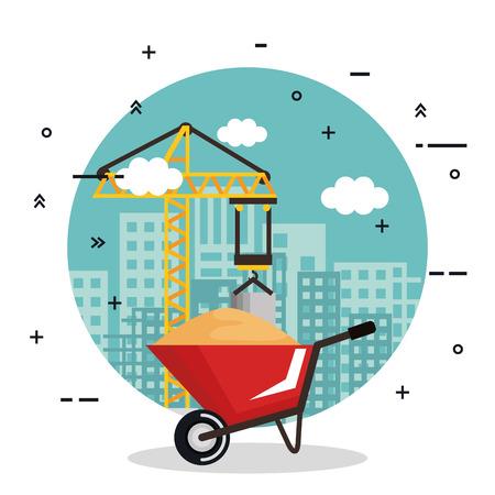 under construction wheelbarrow equipment tool city background vector illustration