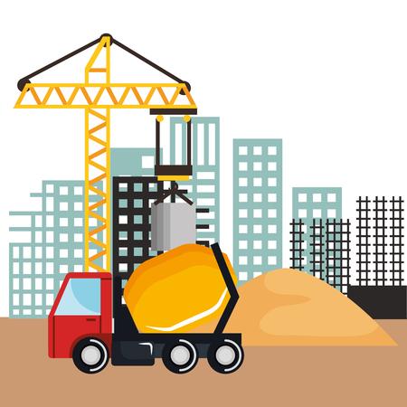 建設ミキサー トラック車両砂とベクトル図を建物クレーンの下で  イラスト・ベクター素材